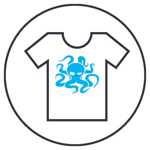 Ikona pro naší službu potisk oblečení.