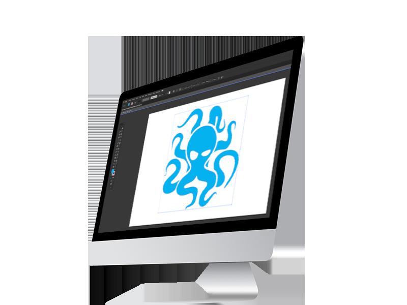 Obrázek počítače, kde je spuštěný grafický program a v něm logo Syndikat design.