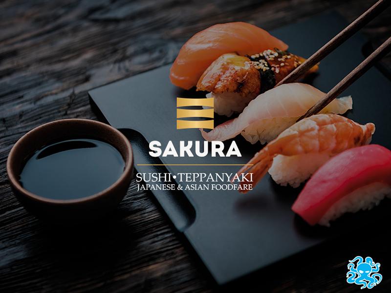 Obrázek s logem restaurace Sakura který odkazuje na naše portfolio.